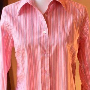 Lands'End pink stripe 3/4 sleeve shirt